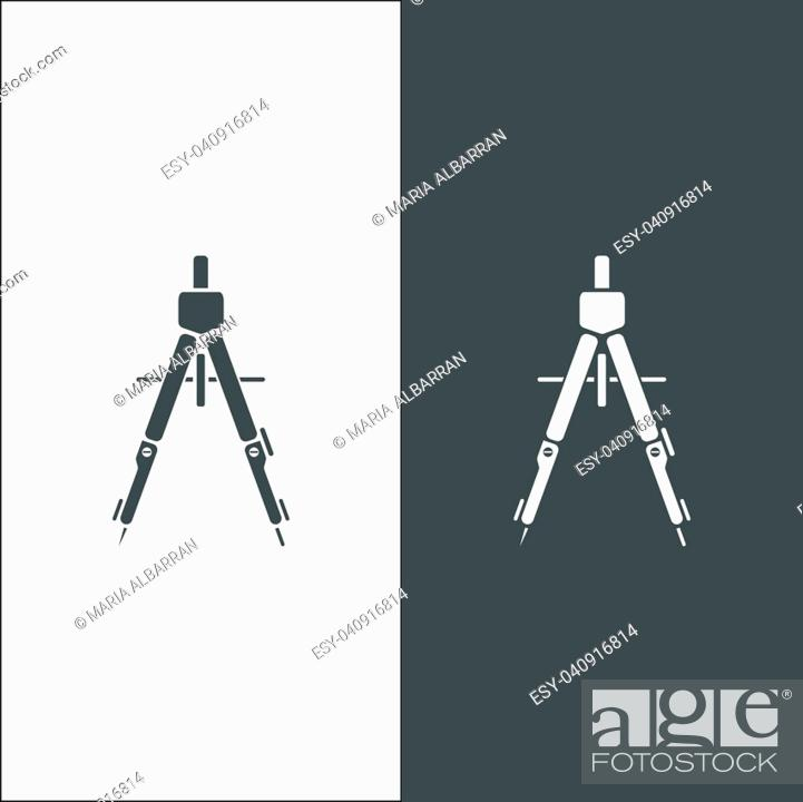Stock Vector: Drawing compass icon on black and white background.