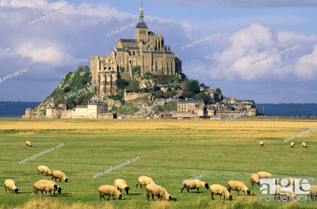 Stock Photo: Mont Saint Michel. Manche, Normandy, France.