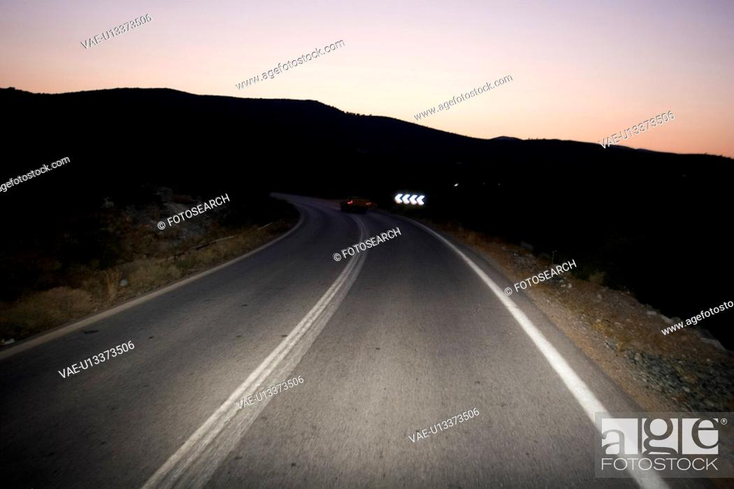 Stock Photo: Car, Driving, Dusk, Highway, Hill.