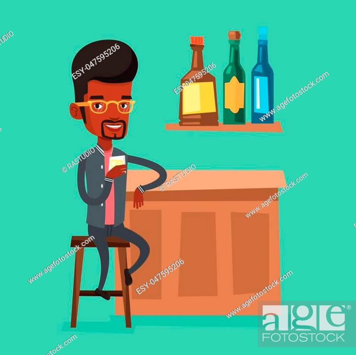 Stock Vector: An african-american man man sitting at the bar counter. Man sitting with glass in bar. Vector flat design illustration. Square layout.