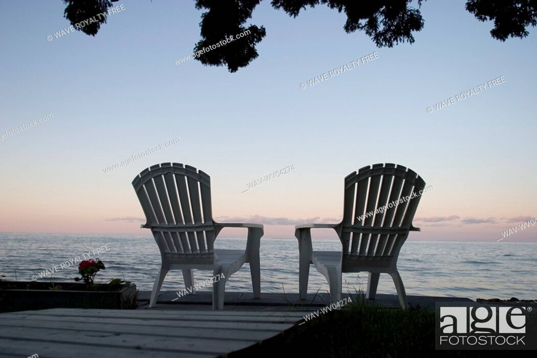 Stock Photo: Cottage chair at Lake Manitoba, Canada.