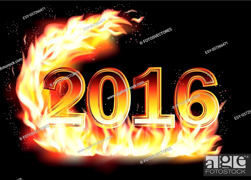 Stock Vector: Fiery New 2016 Year background, vector illustration.