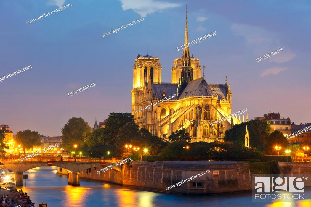 Stock Photo: Notre Dame de Paris at night.