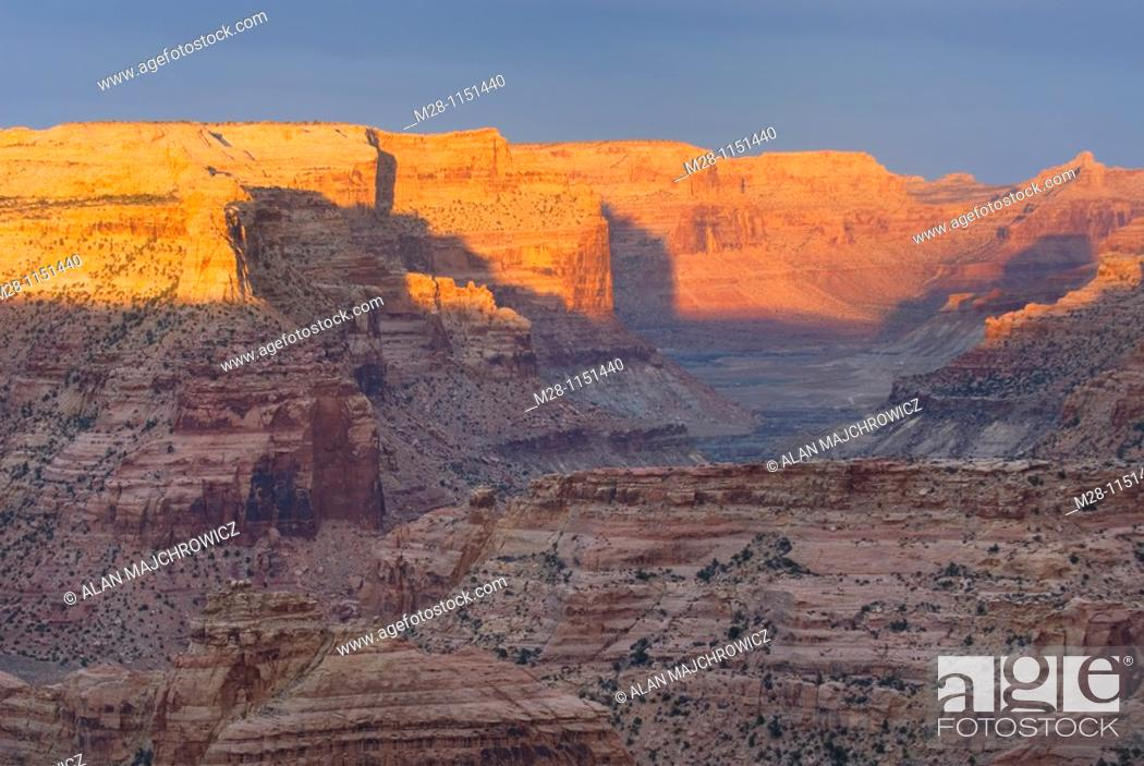 Stock Photo: Sunset over buttes and mesas of Little Grand Canyon, San Rafael Swell Utah.