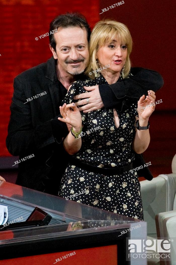 Imagen: Milan 18 03 2012  Telecast 'Che tempo che fa' RAI3  Rocco Papaleo and Luciana Littizzetto.