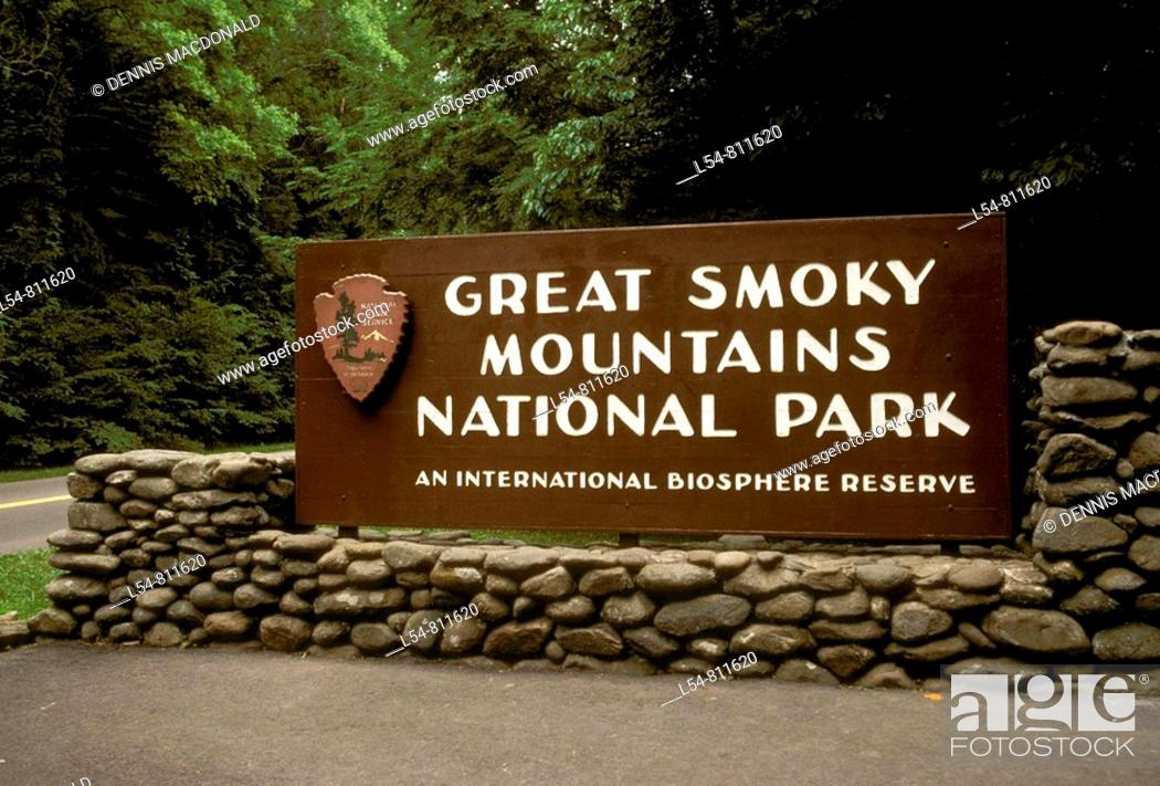 Stock Photo: Great Smoky Mountain National Park sign entrance at Gatlinburg Tennessee.
