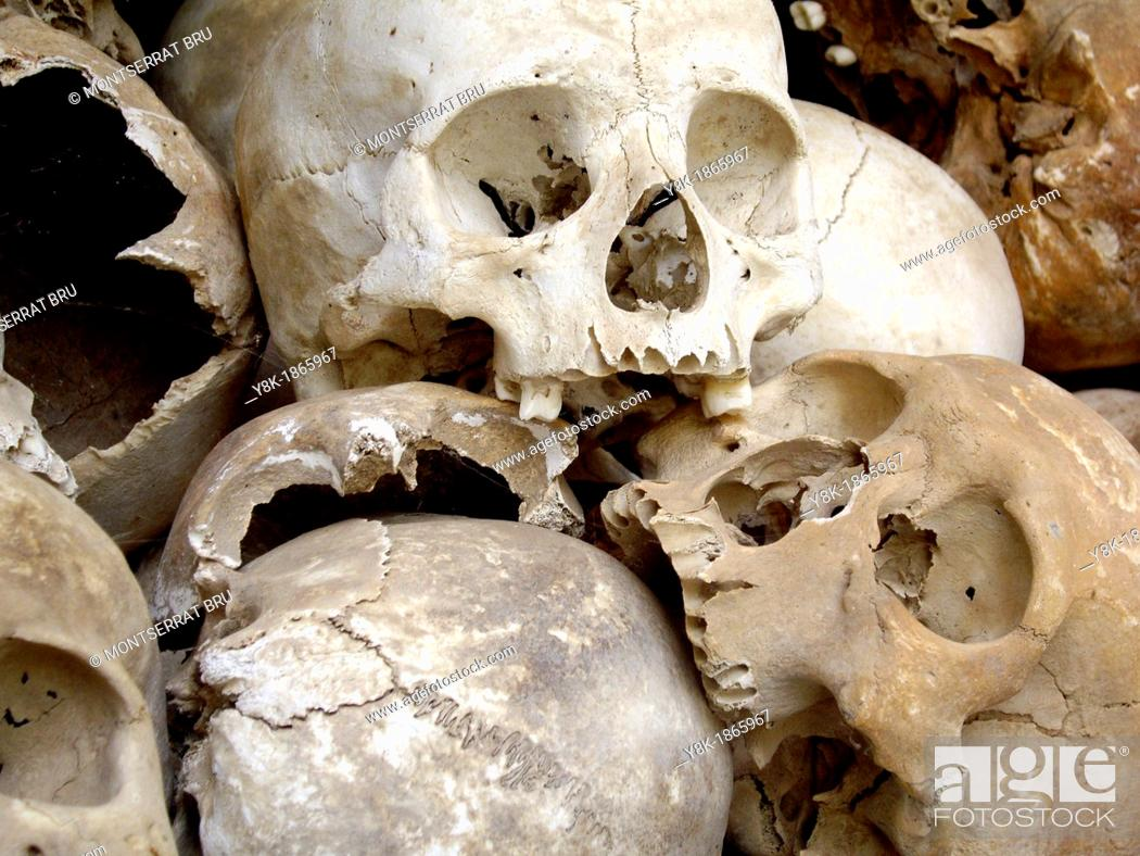 Stock Photo: Pile of skulls at the Killing Fields in Choeung Ek, Cambodia.