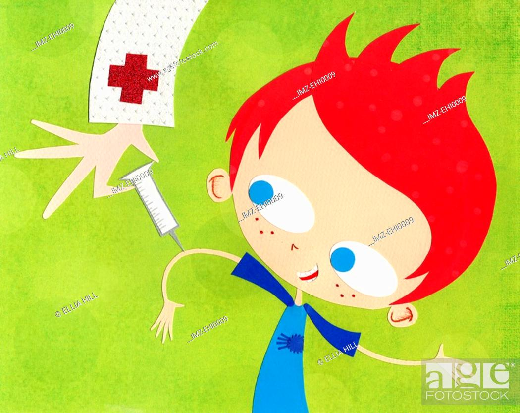 Stock Photo: A paper cut illustration of a boy getting immunized.