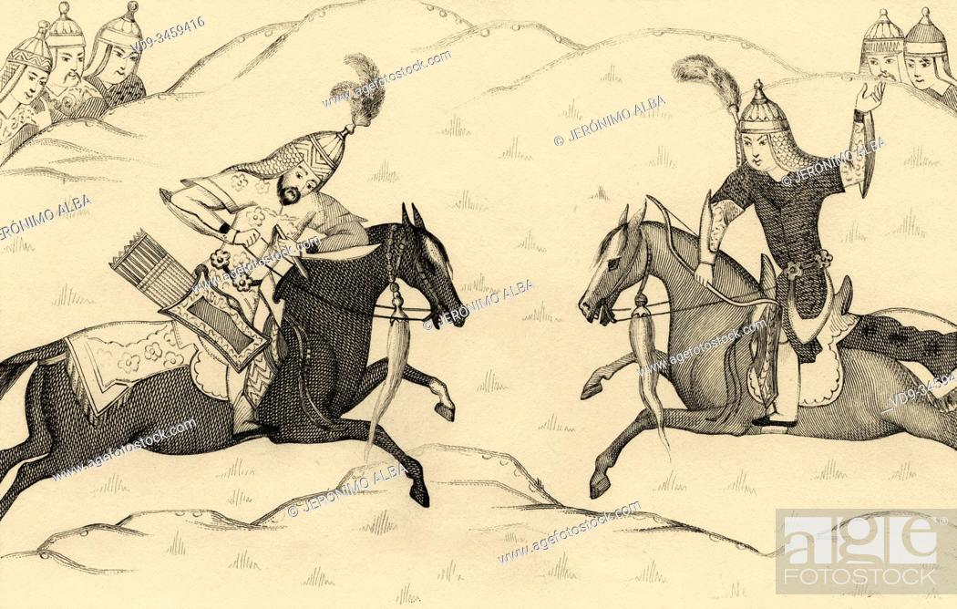 Photo de stock: Persian horsemen knights fighting on horseback. Baysonghori Manuscript of the Shahnameh. Iran. Old steel engraved antique print.