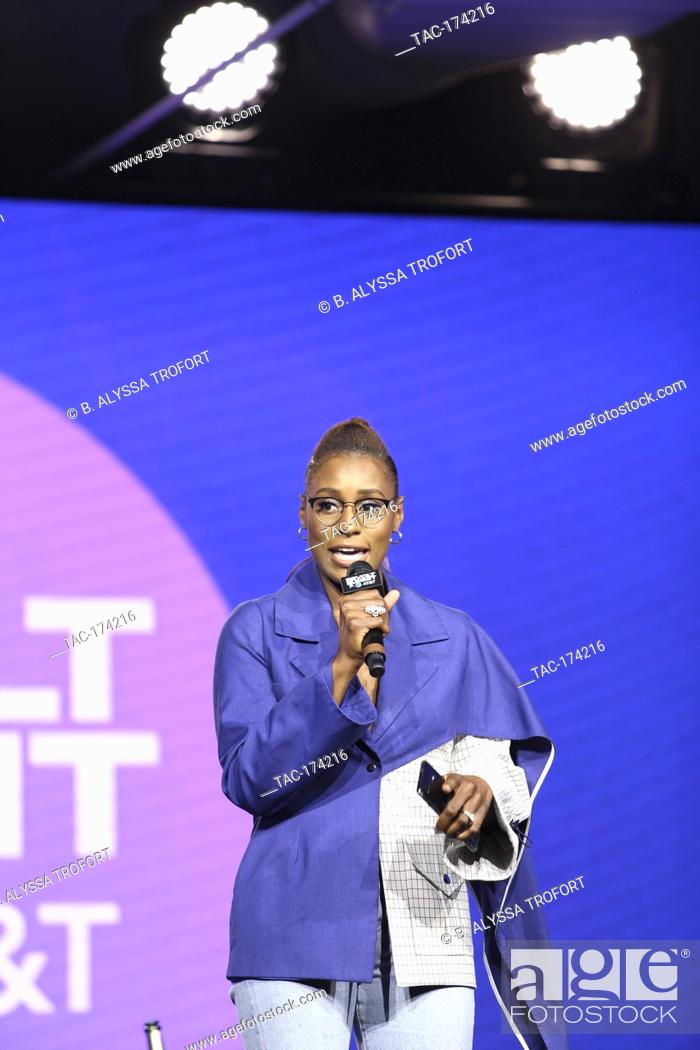 Stock Photo: A Sip with Melina Matsoukas on stage at the Revolt Summit x AT&T LA on October 25, 2019 at Magic Box in Los Angeles, California.