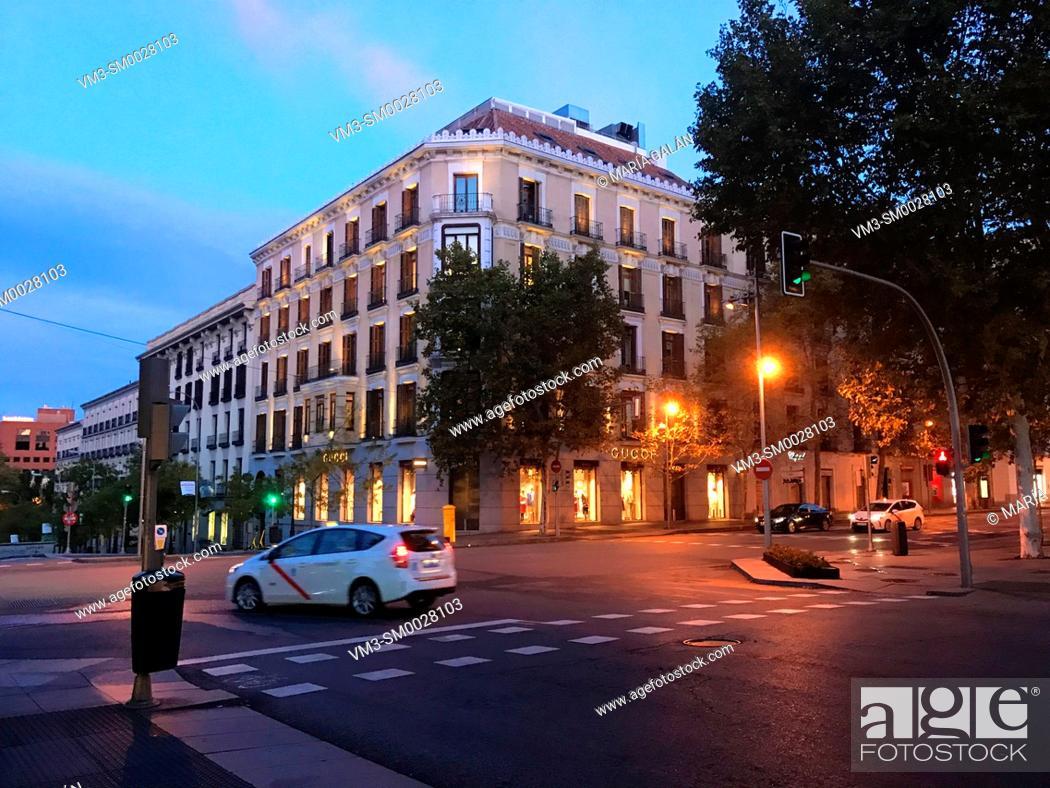Stock Photo: Serrano street at dawn. Madrid, Spain.