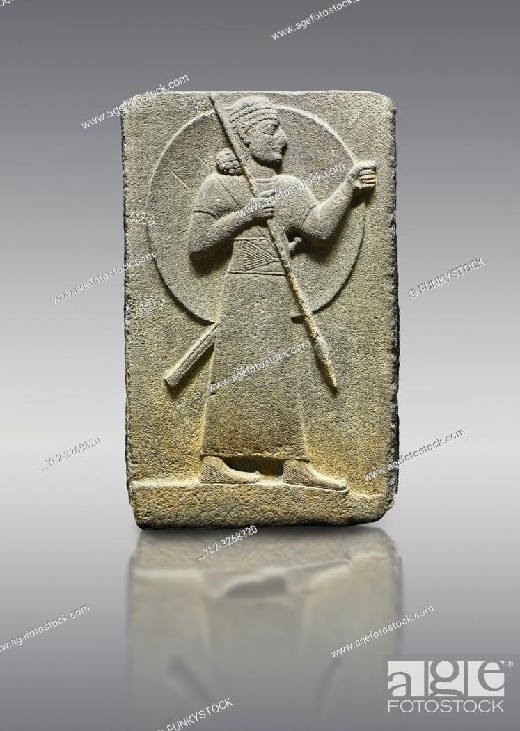 Stock Photo: Picture & image of Hittite relief sculpted orthostat stone panel of Royal Buttress. Basalt, Karkamıs, (Kargamıs), Carchemish (Karkemish), 900-700 B.