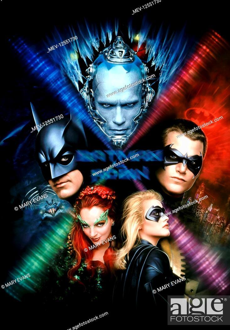 Stock Photo: Arnold Schwarzenegger, George Clooney, Chris O'Donnell, Uma Thurman & Alicia Silverstone Characters: Mr. Freeze, Batman, Robin, Poison Ivy.