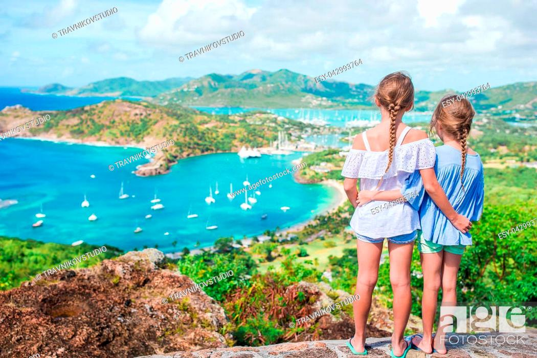 Stock Photo: View of English Harbor from Shirley Heights, Antigua, paradise bay at tropical island in the Caribbean.