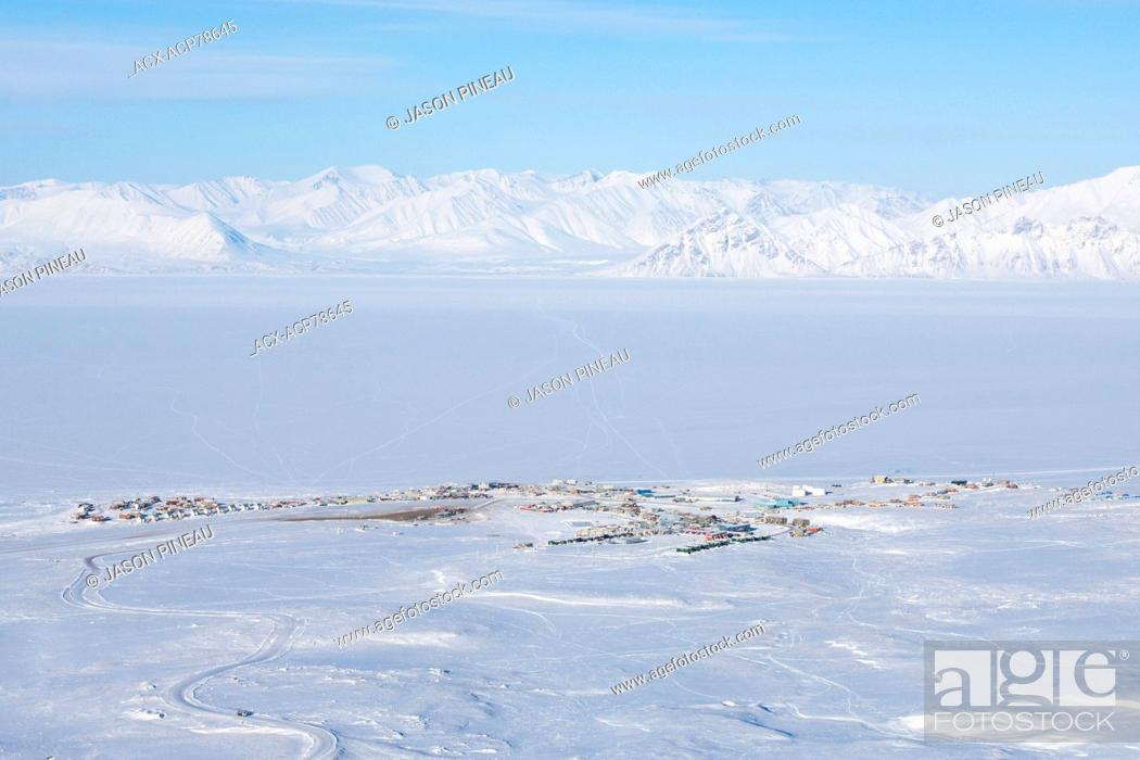 Stock Photo: An aerial view of Pond Inlet, Nunavut.