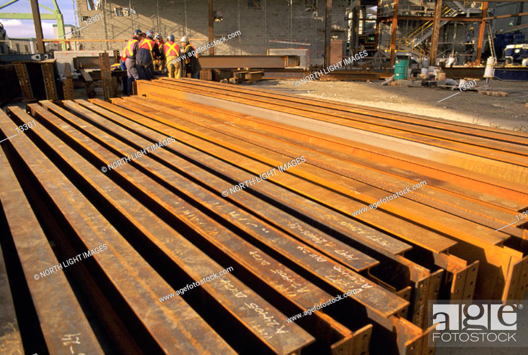 Stock Photo: Large steel beams at industrial construction site.