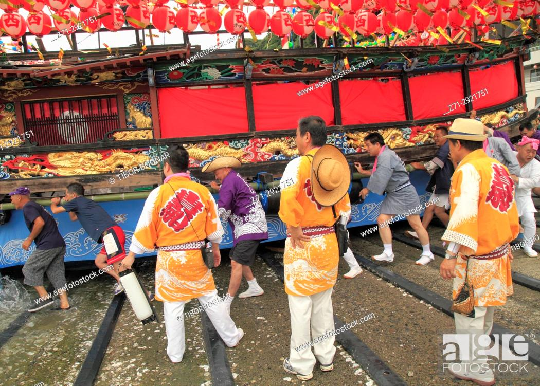 Stock Photo: Japan, Manazuru, Kibune Matsuri, festival, launching a boat, people,.