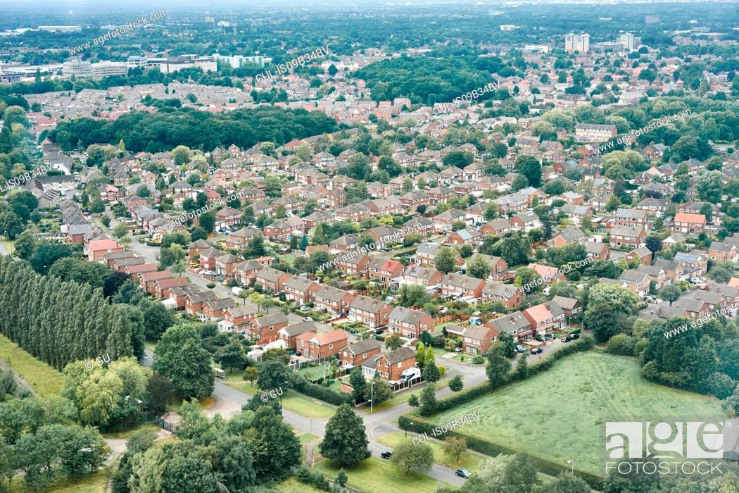 Stock Photo: Aerial view of suburban area, Altrincham, Cheshire, England.