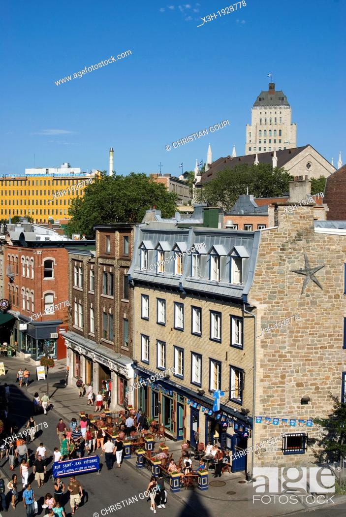 Stock Photo: Saint-Jean street in Old Quebec district, Quebec City, Quebec province, Canada, North America.