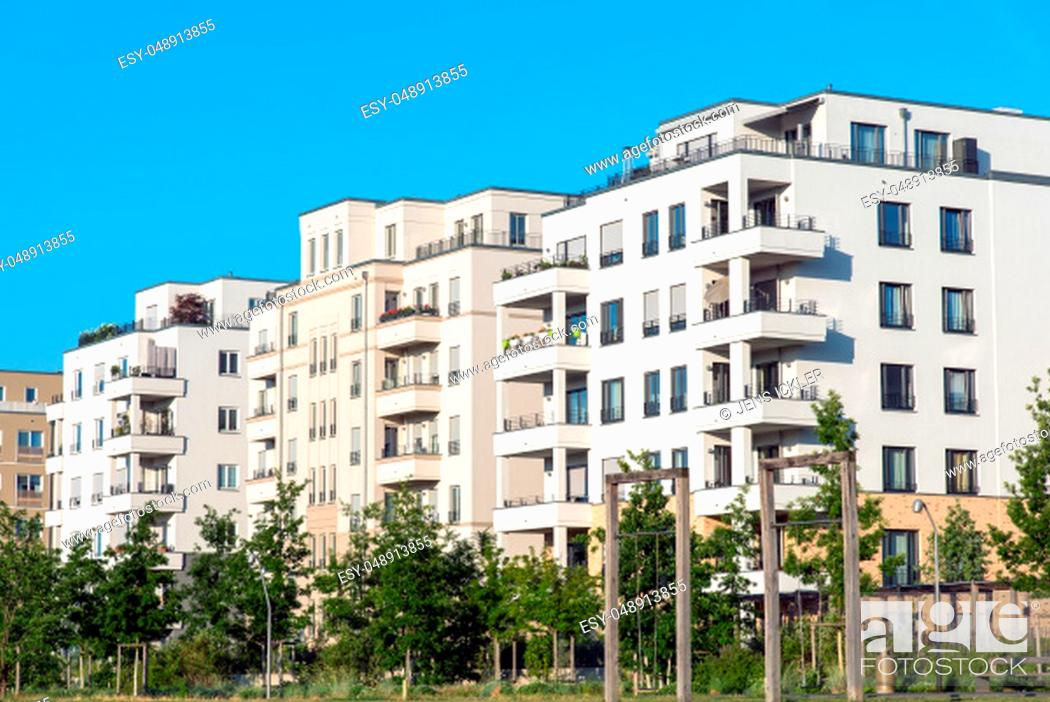 Stock Photo: Modern white apartment houses seen in Berlin, Germany.