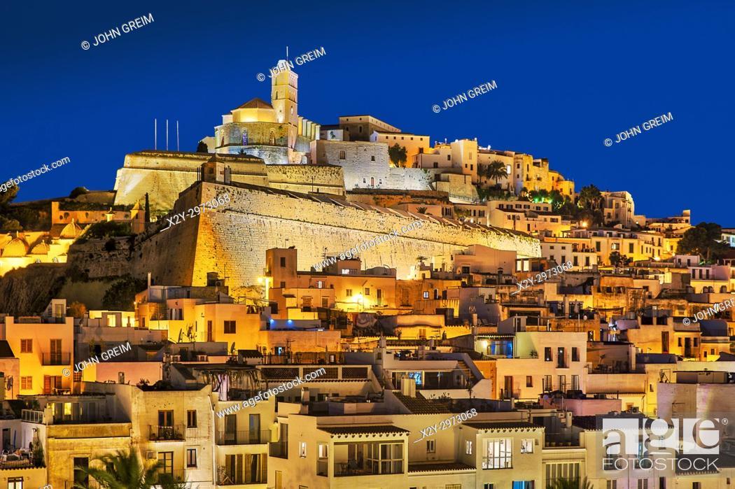Stock Photo: Ibiza Town and the cathedral of Santa Maria d'Eivissa at night, Ibiza, Balearic Islands, Spain.