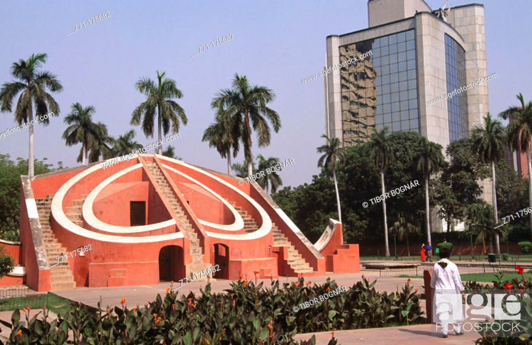 Stock Photo: Jantar Mantar old astronomical observatory. New Delhi. India.