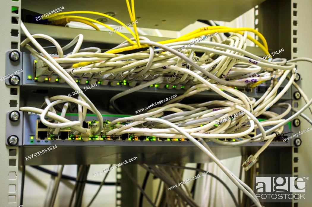 Stock Photo: The details of abstract fiber network server.