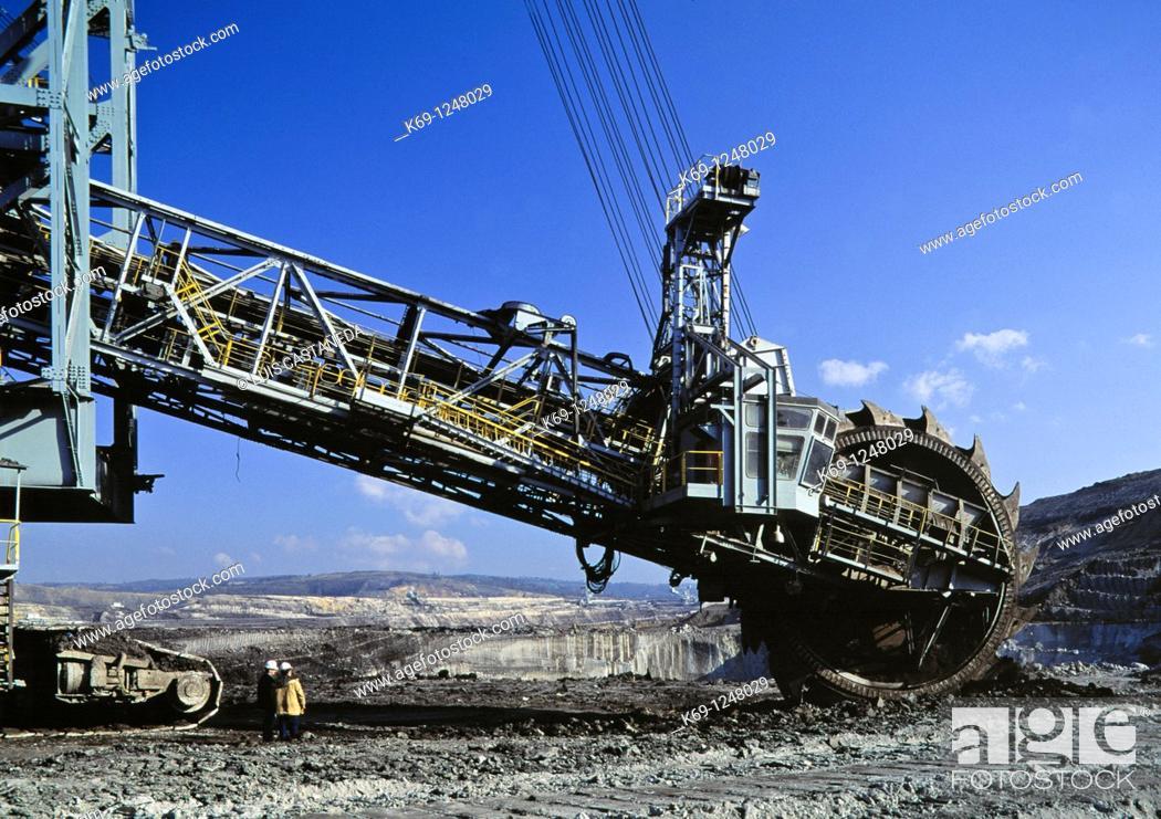Stock Photo: Excavation Machine  Open Field Coal Mine  Galicia  Spain.