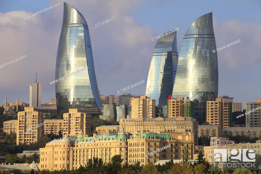 Photo de stock: Azerbaijan, Baku, skyline, Flame Towers,.