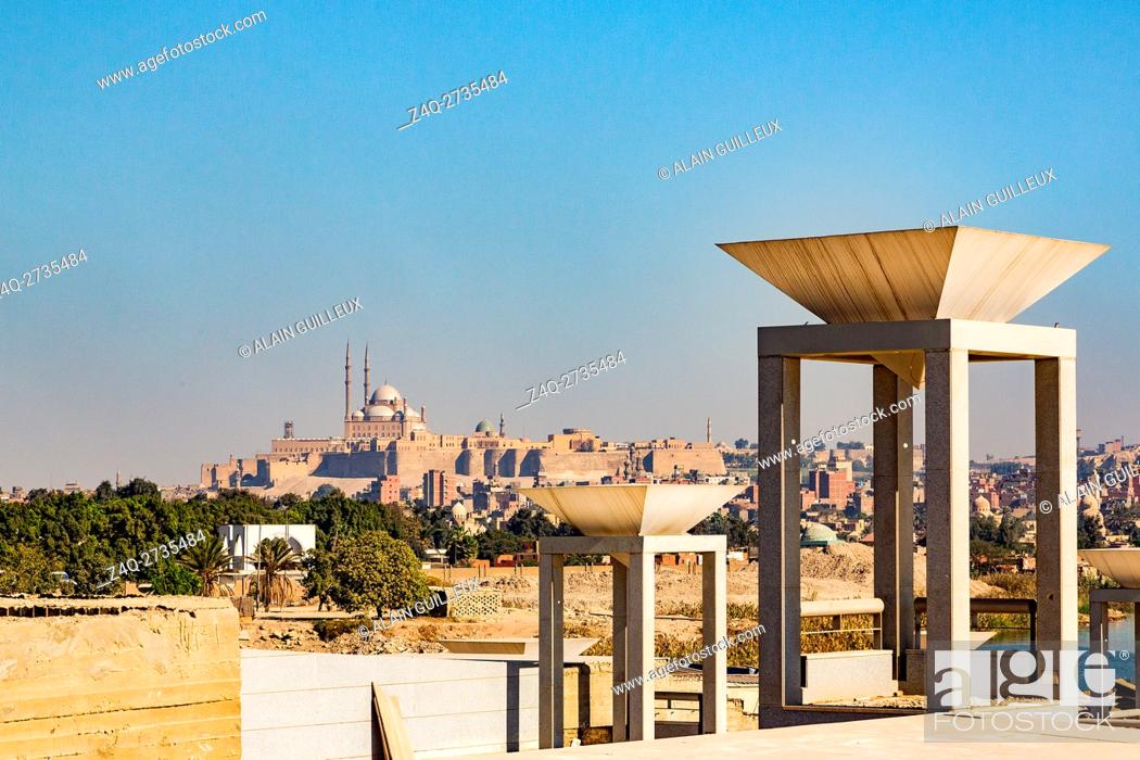 Stock Photo: Egypt, Cairo, the National Museum of Egyptian Civilization, not yet inaugurated, in December 2015 : The lights of the Entrance Court have the shape of.