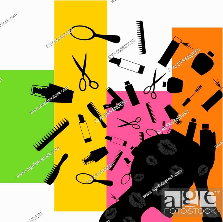 Stock Vector: Cosmetics from a head.