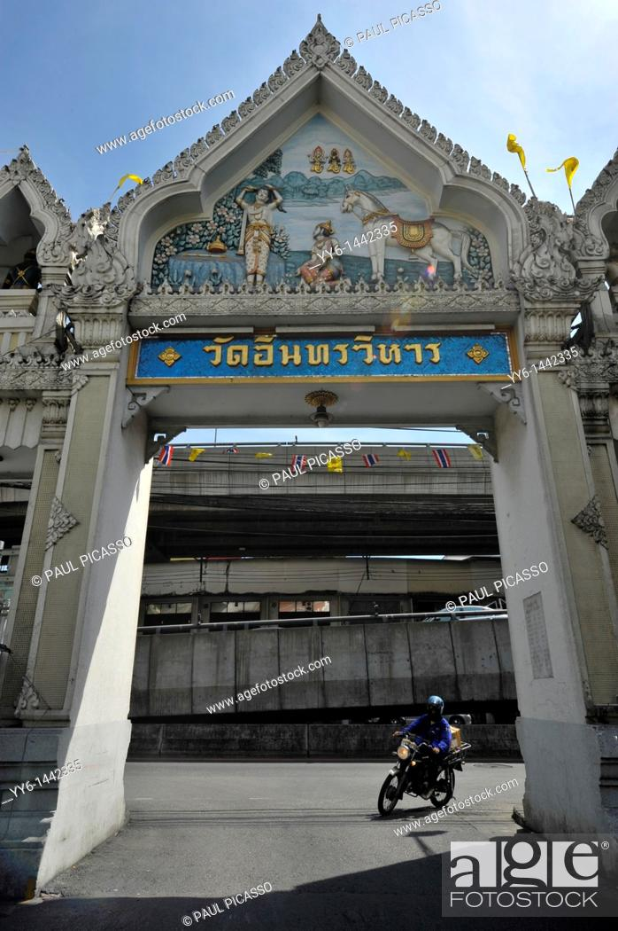 Stock Photo: entrance to Wat Intharawihan, also known as Wat Indravihan , built during the later Ayutthaya period, is one of the most frequented temples in Bangkok, thailand.
