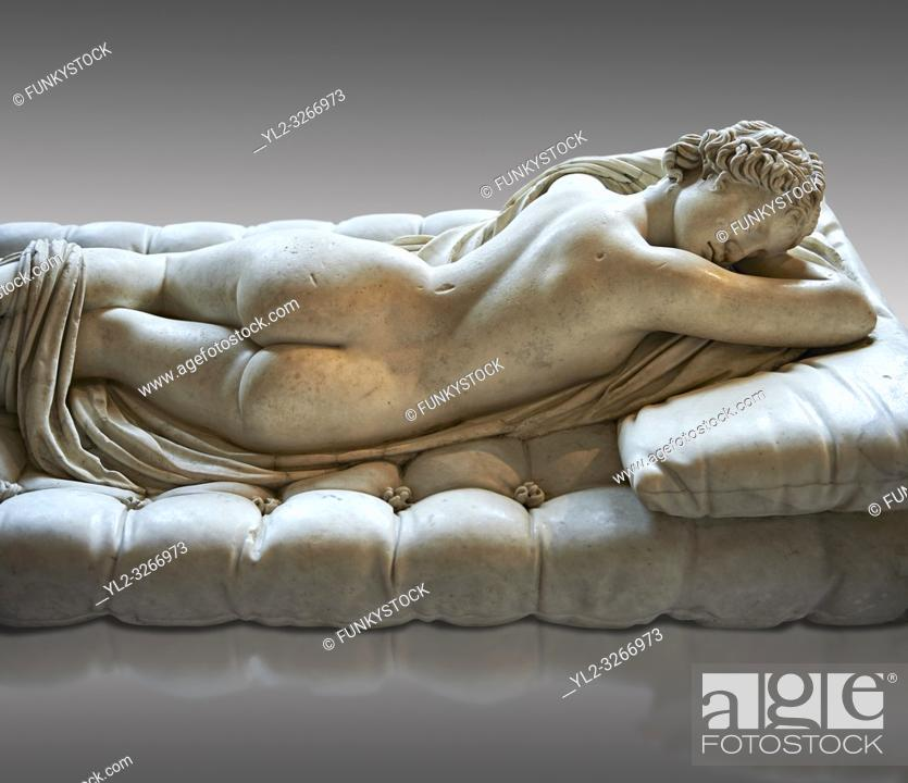 Stock Photo: Sleeping Hermaphroditus, The Borghese Hermaphrodite. A Life size ancient 2nd century AD Roman statue sculpted in Greek Marble and found in the grounds of Santa.