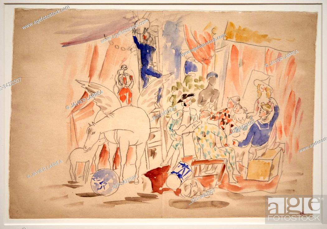 """Stock Photo: """"""""""""Project pour le rideau de scène du ballet """"""""Parade"""""""", 1916-1917, Pablo Picasso, 1881-1973, Musée de l'Armée, Paris, France."""