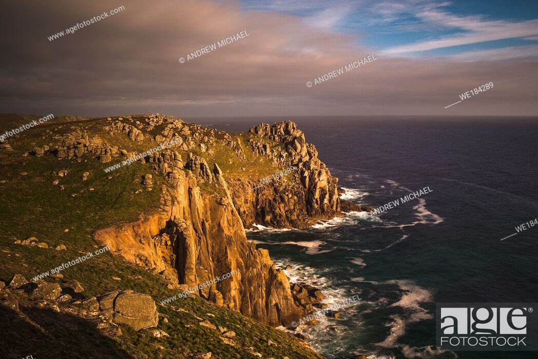 Stock Photo: Sunset Zawn Trevilley and Carn Boel at Lands End on the tip of Cornwall, England, UK.