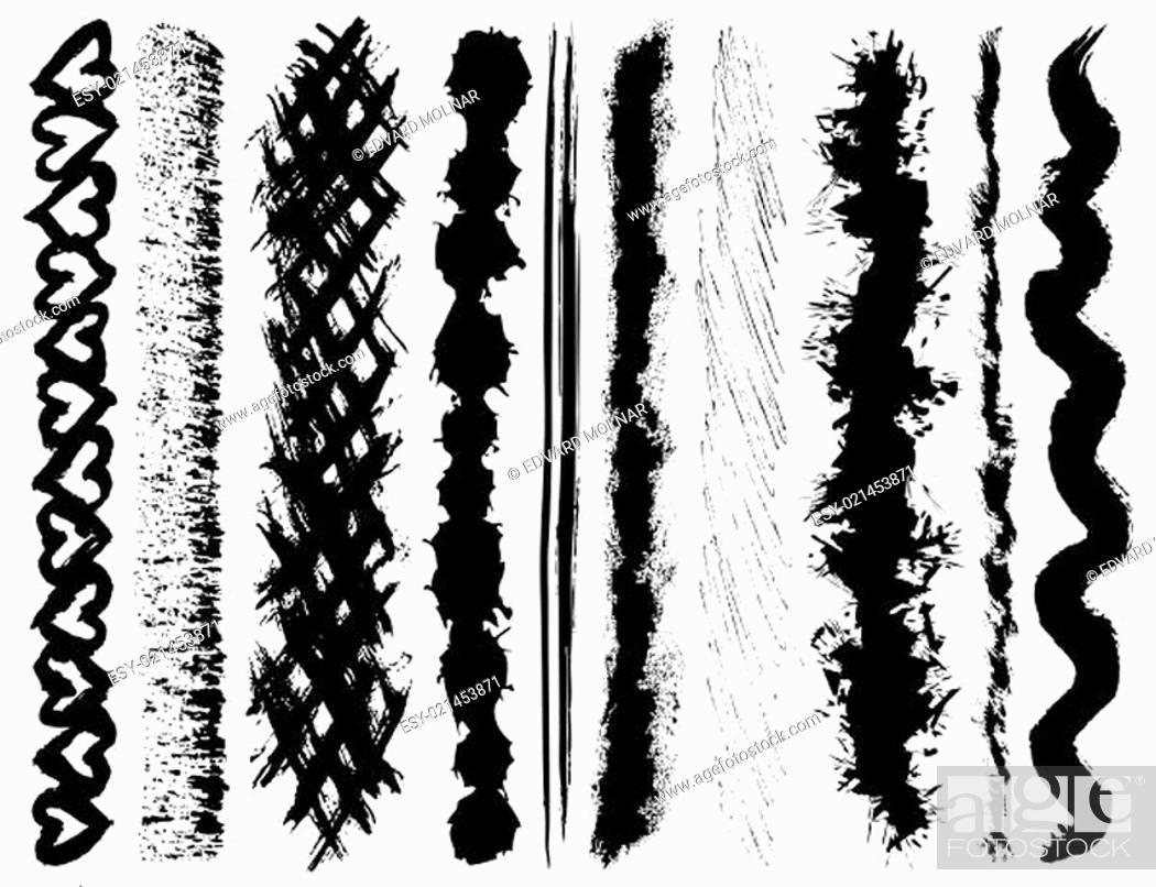 Stock Vector: Set of grunge ink brush strokes (vector EPS).