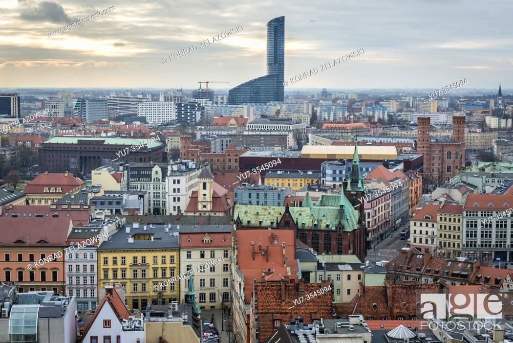 Stock Photo: Aerial view from Garrison Church in Old Town of Wroclaw, Poland - view with Sky Tower skyscraper and University Library.