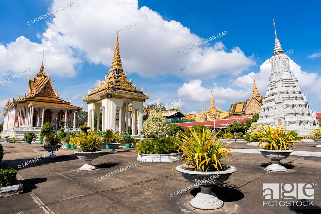 Stock Photo: Silver Pagoda and Stupa. The Silver Pagoda's proper name is Wat Preah Keo Morokat, which means 'The Temple of the Emerald Buddha'.