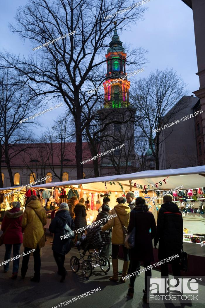 Stock Photo: View of the 22nd Environment and Christmas Market ('Umwelt- und Weihnachtsmarkt')in the Sophienstrasse street in Berlin, Germany, 2 December 2017.