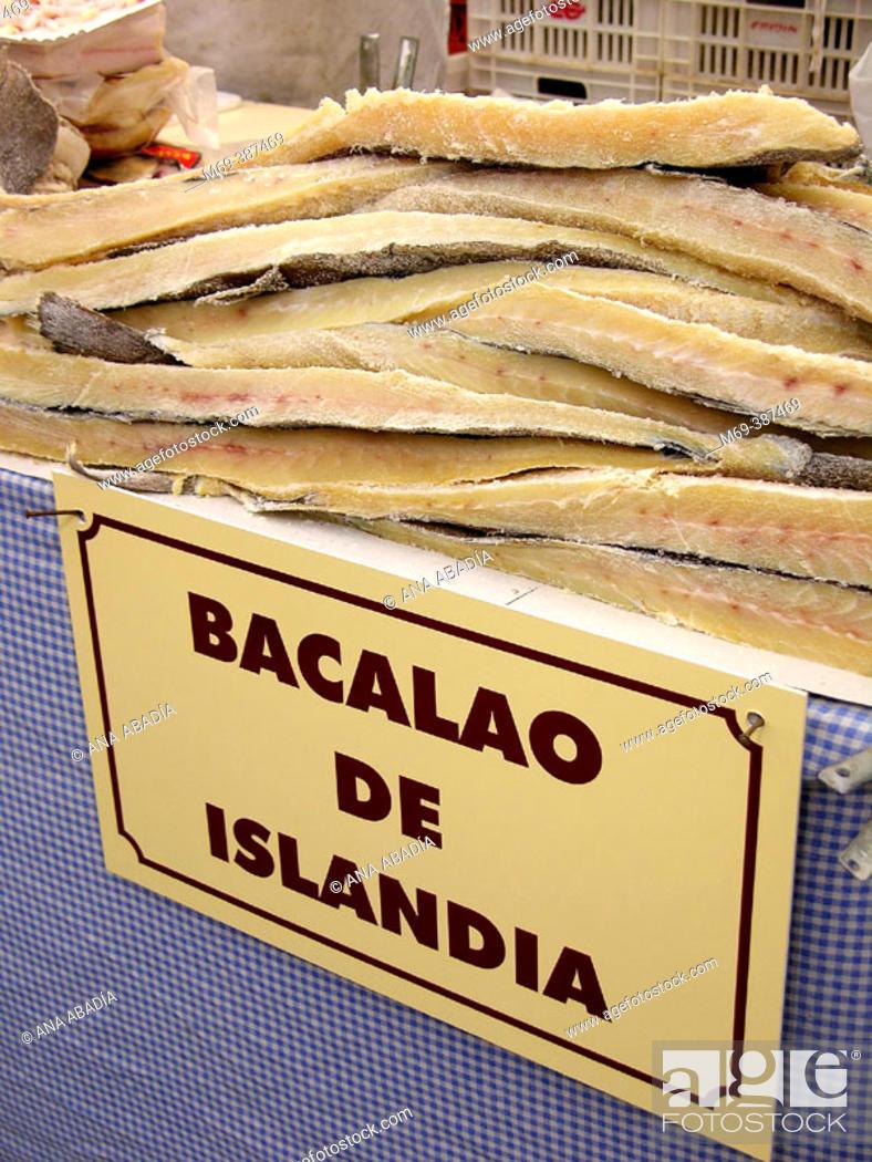 Stock Photo: Icelandic cod in market. Spain.