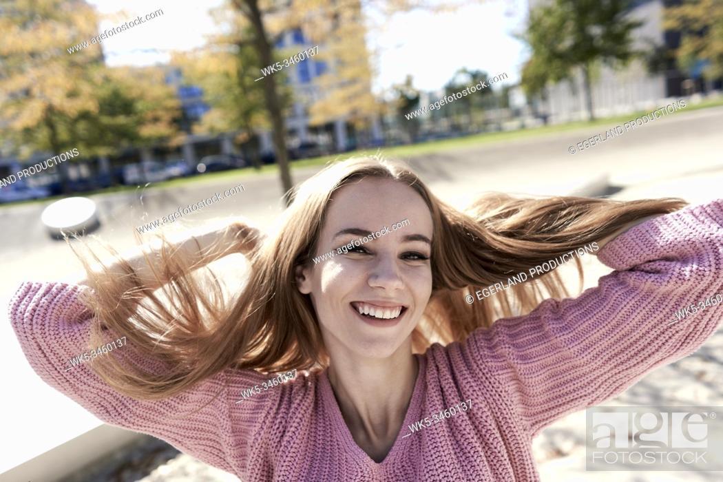 Stock Photo: Portrait of young woman. Munich, Germany.