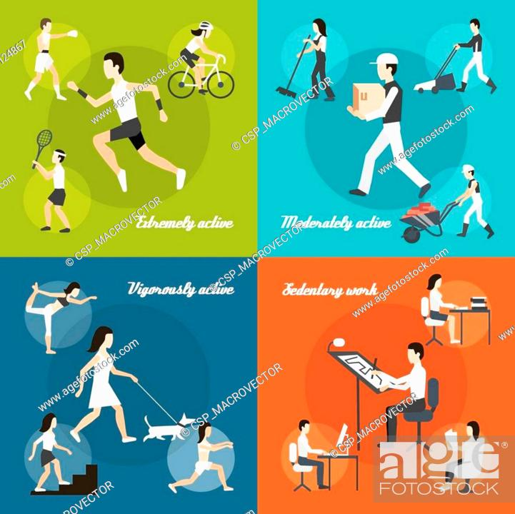 Stock Vector: Physical Activity Set.
