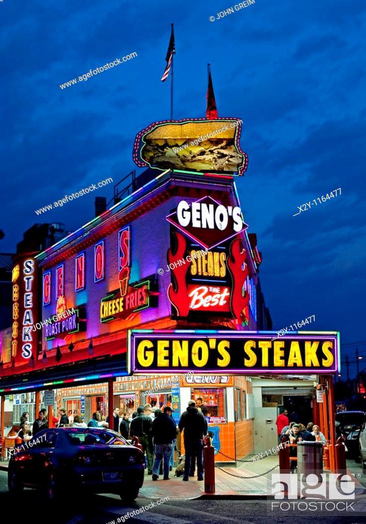 Stock Photo: Famous Geno's Steaks, South Philly, Philadelphia, PA, USA.