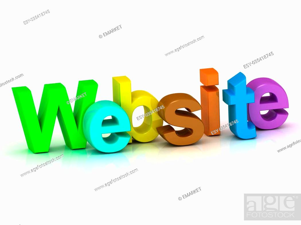 Stock Photo: Website bright colour letters on white background.