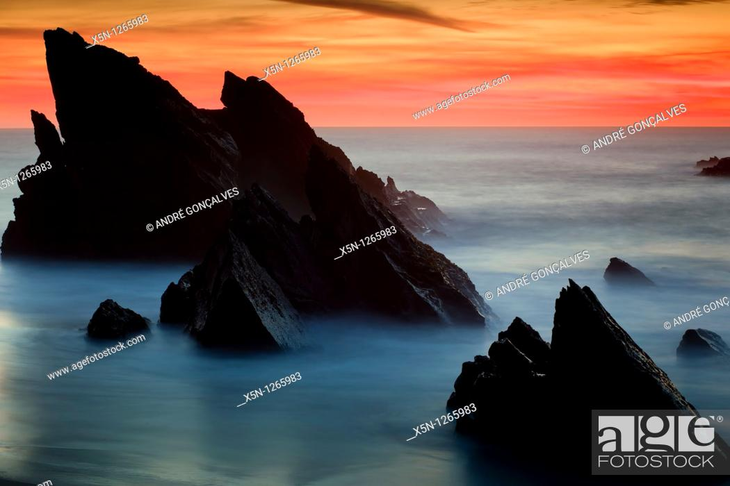 Stock Photo: Adraga Beach in Sintra Natural Park, Portugal.