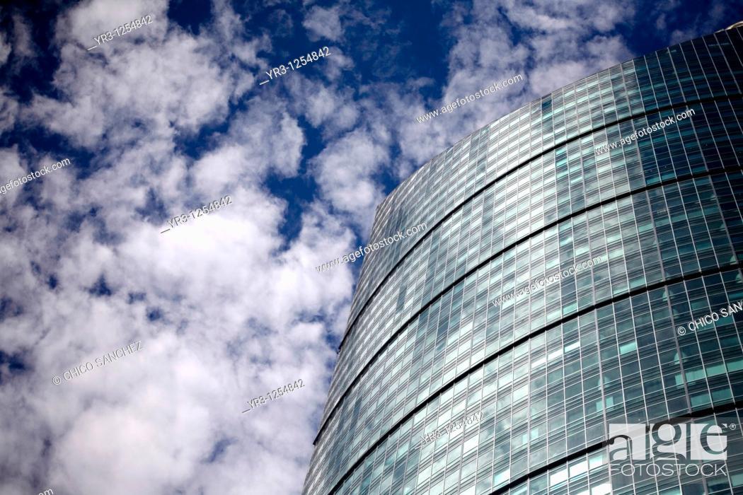 Stock Photo: Torre Mayor skyscraper office building located in the Paseo de la Reforma avenue in Mexico City.