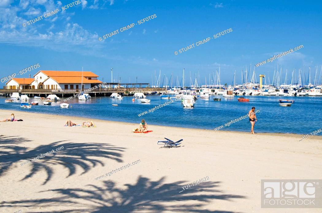 Stock Photo: Club Nautico Marina and Beach at Los Alcazares, Murcia, Costa Calida, South East Spain.