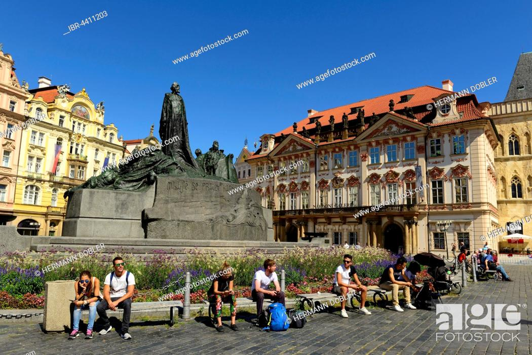 Stock Photo: Jan Hus Monument, Palais Golz-Kinsky, Old Town Square, Prague, Czech Republic.