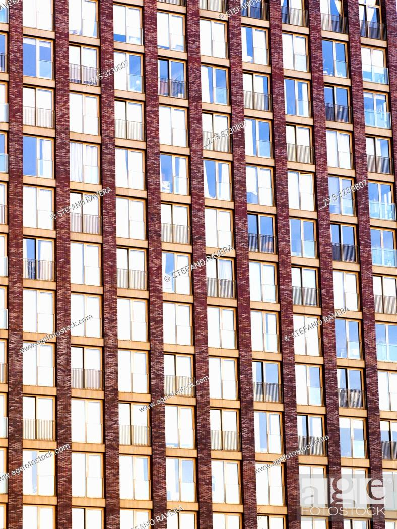 Stock Photo: Embassy Gardens building facade, residential and business development in the Nine Elms regeneration zone in London - South West London, England.