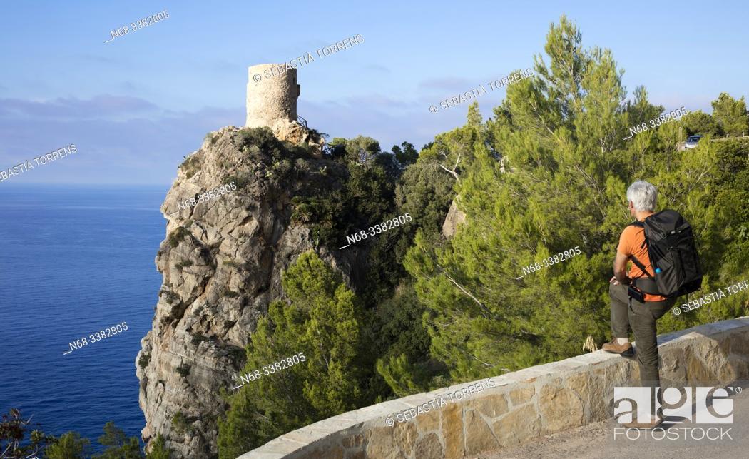 Stock Photo: Hiker at Torre de Ses Animes, Banyalbufar, Majorca, Spain.